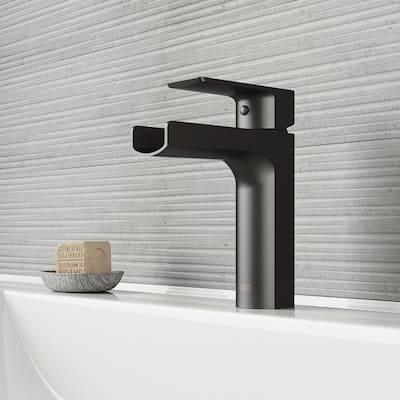 Ileana Single-Handle Single Hole Bathroom Faucet in Matte Black