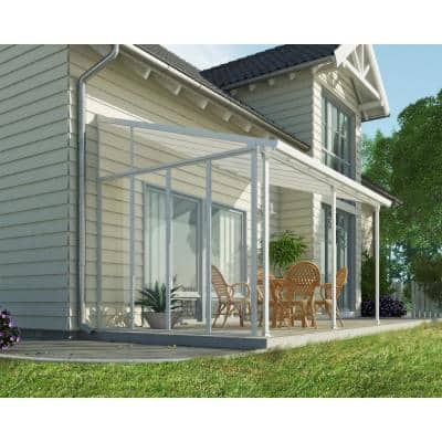Feria 10 ft. x 14 ft. White/White Aluminum Patio Cover with Side Wall