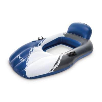 Blue and White Floating Mesh Lounge Chair Pool Float Lounger with Cupholder