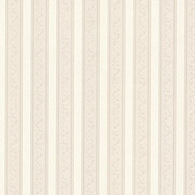 Kendra Neutral Scrolling Stripe Vinyl Peelable Roll Wallpaper (Covers 56 sq. ft.)