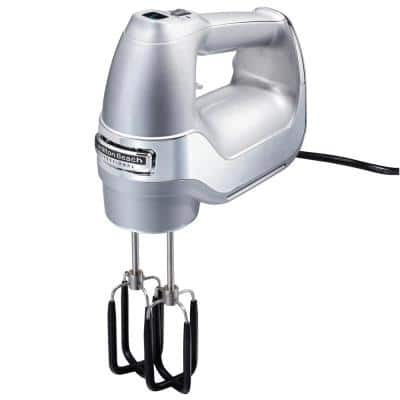 Professional 7-Speed Silver Hand Mixer with SoftScrape Beaters, Whisk, Dough Hooks and Snap-On Storage Case