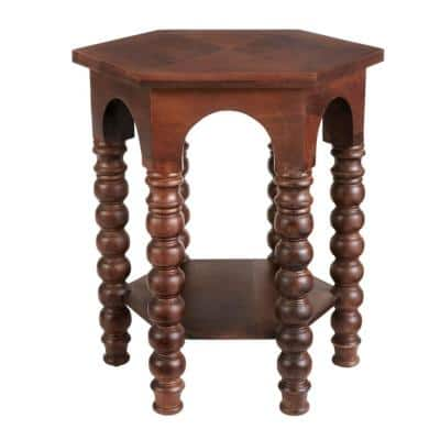 Castine Hexagonal Walnut Finish Wood End Table with Detailed Legs (22 in. W x 24 in. H)