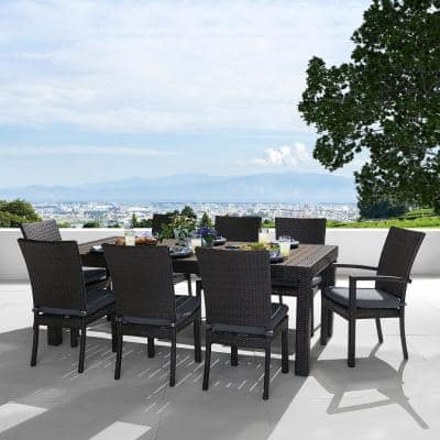 Deco 9-Piece Wicker Patio Dining Set with Gray Cushions