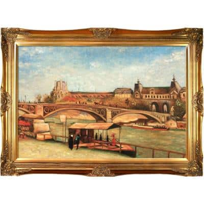 """""""The Pont Du Carrousel and the Louvre, 1886 with Victorian Gold"""" by Vincent Van Gogh Framed32 in. x 44 in."""