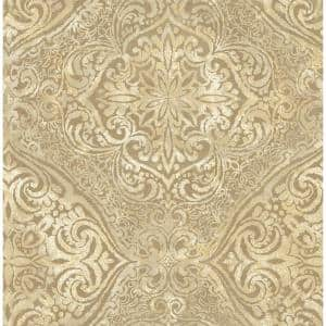 Palladium Metallic Gold and Cream Damask Paper Strippable Roll (Covers 56.05 sq. ft.)