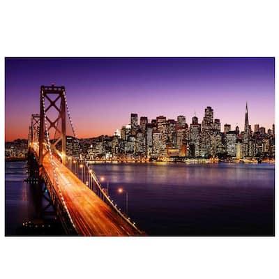 "LED Lighted Famous San Francisco Oakland Bay Bridge Canvas Wall Art 15.75"" x 23.5"""