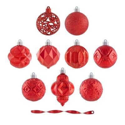 Holiday Traditions 2.36 in. Red Shatterproof Ornament Set (101-Count)