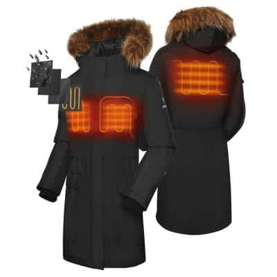 Women's Medium Black 7.2-Volt Lithium-Ion Heated Parka Jacket with (1) 5.2Ah Battery Pack and Thermolite Insulation