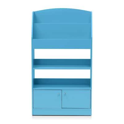 KidKanac 43.31 in. Light Blue Faux Wood 5-shelf Etagere Bookcase with Doors