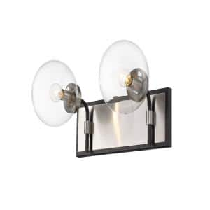 16 in. 2-Light Matte Black and Brushed Nickel Vanity Light with Clear Glass