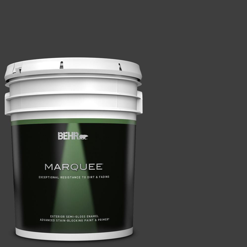 5 gal. #T13-3 Black Lacquer Semi-Gloss Enamel Exterior Paint & Primer