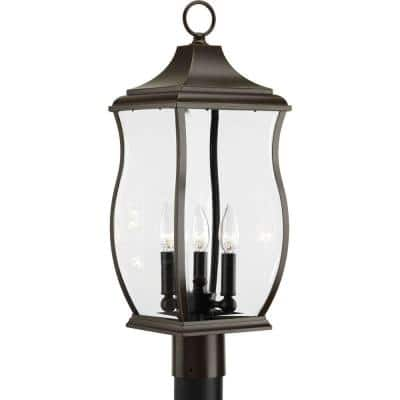 Township Collection 3-Light Oil Rubbed Bronze Clear Beveled Glass New Traditional Outdoor Post Lantern Light