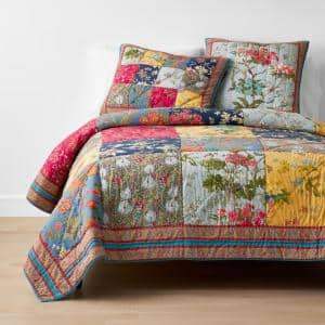 Siena Multicolored Floral Twin Cotton Quilt