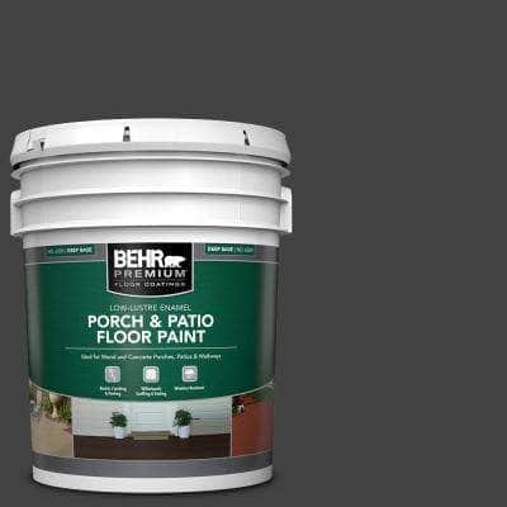 5 gal. #PFC-75 Tar Black Low-Lustre Enamel Interior/Exterior Porch and Patio Floor Paint
