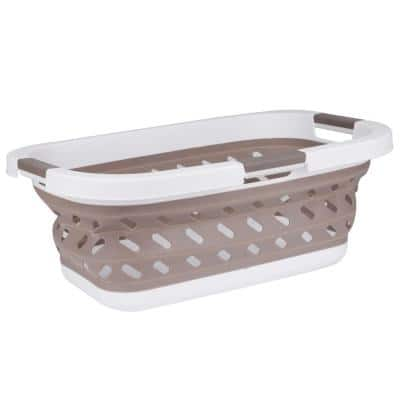 Collapsible Plastic Laundry Basket with Carry Handles, Brown