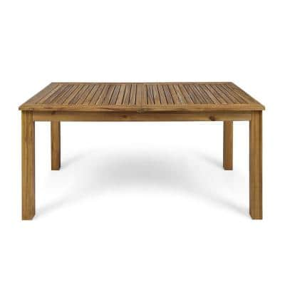 Nestor Natural Brown Rectangular Wood Expandable Outdoor Dining Table