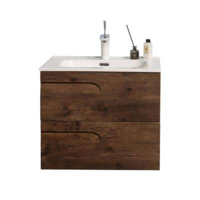 Joy 28 in. W x 18.25 in. D x 20.5 in. H Integrated Porcelain Bathroom Vanity in Rosewood with White Top
