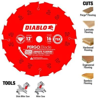 12 in. x 16-Tooth Polycrystalline-Diamond (PCD) Tipped Ultimate Flooring Blade