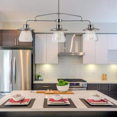 Nate 3-Light Brushed Steel Pendant with Clear Glass Shades