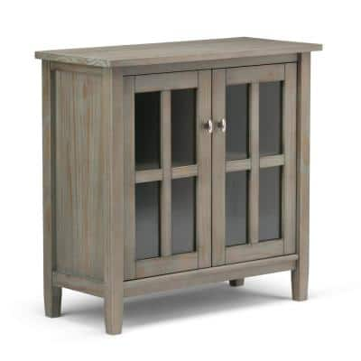 Warm Shaker Solid Wood 32 in. Wide Transitional Low Storage Cabinet in Distressed Grey