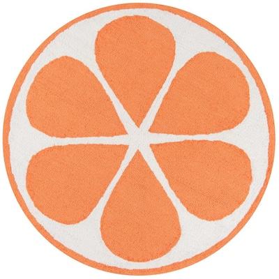Cucina Orange 3 ft. x 3 ft. Round Kitchen Mat