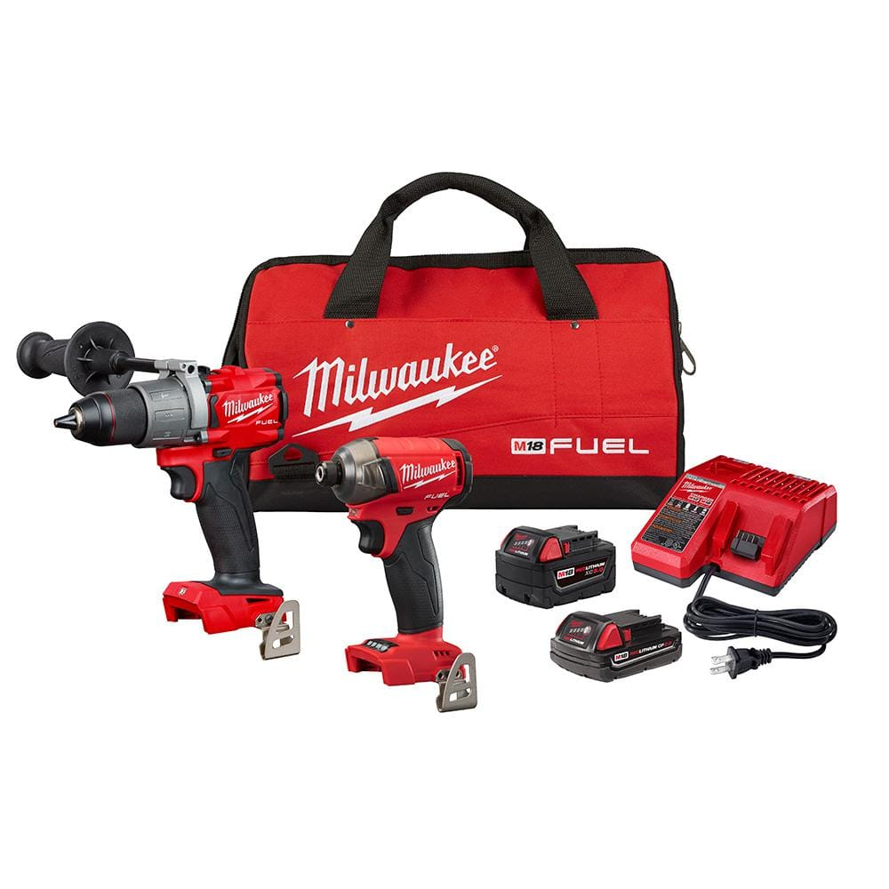 milwaukee m18 fuel 18 volt lithium ion brushless cordless surge impact driver hammer drill combo kit 2 tool with 2 batteries 2999 22cx the home