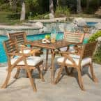 Hermosa Teak Brown Finish 5-Piece Wood Square Outdoor Dining Set with Cream Cushions
