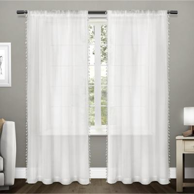 Winter White Tassel Rod Pocket Sheer Curtain - 54 in. W x 96 in. L  (Set of 2)