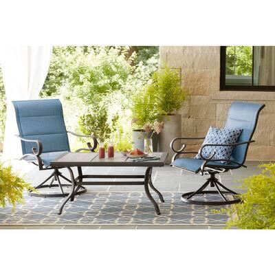 Crestridge Steel Padded Sling Swivel Outdoor Patio Dining Chair in Conley Denim (2-Pack)