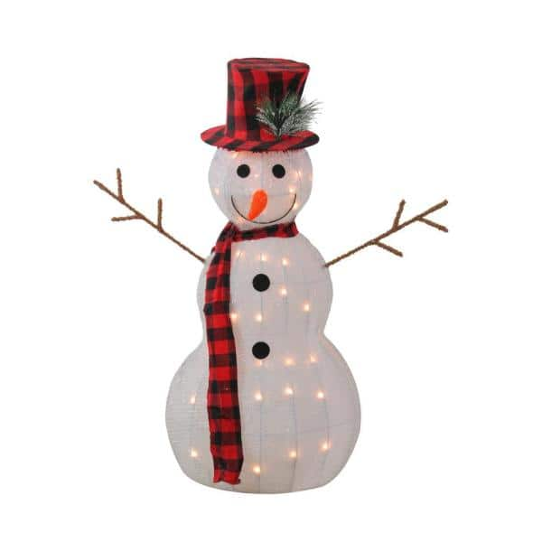 Northlight 35 In Lighted 3 D Snowman With Top Hat And Twig Arms Outdoor Christmas Decoration 32913163 The Home Depot