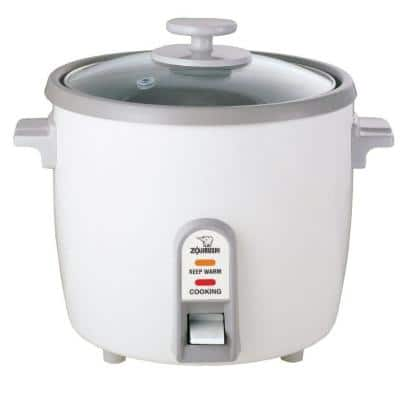 6-Cup White Rice Cooker with Stainless Steel Steaming Tray