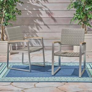 Glasgow Grey Aluminum Outdoor Dining Chair in Dark Grey (2-Pack)