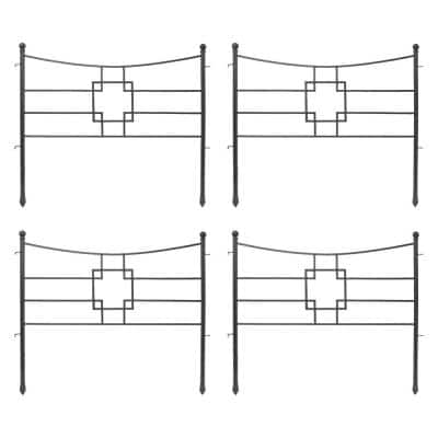 31.5 in. Tall Graphite Powder Coat Iron Square-on-Squares Garden Fence Section (4-Pack)