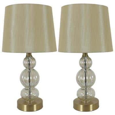 Joan 17.25 in. Brass Table Lamps with USB Ports with Shade (Set of 2)