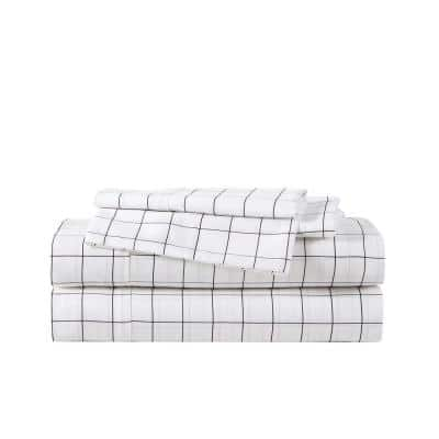 Classic Grid 4-Piece Black T500 Antibacterial Cotton Blend Queen Sheet Set