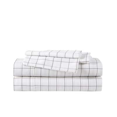 Classic Grid 4-Piece Black T500 Antibacterial Cotton Blend King Sheet Set