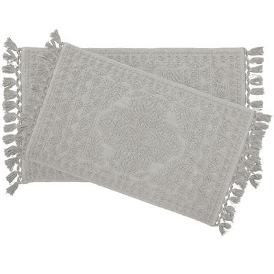 Nellore Fringe Cotton Medium Gray 17 x 24 in./20 x 34 in. 2-Piece Bath Rug Set