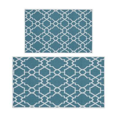 Geometric Graphic Teal 44 in. x 24 in. and 31.5 in. x 20 in. Washable, Thin, Multipurpose Kitchen Rug Mat (Set of 2)