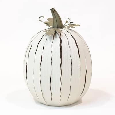 18 in. x 12 in. White Powder Coated Tall Pumpkin Luminary