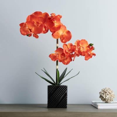 Artificial 21 in. 2-Stem Orange Orchid Plant