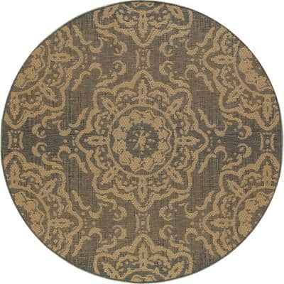 Plymouth Refreshing Gray 7 ft. x 7 ft. Round Indoor/Outdoor Area Rug