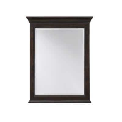24.00 in. W x 31.00 in. H Framed Rectangular  Bathroom Vanity Mirror in Burnished Walnut