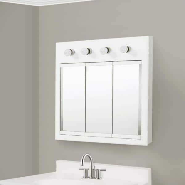 Design House Concord 30 In X 30 In 4 Light Tri View Surface Mount Medicine Cabinet In White Gloss 532382 The Home Depot