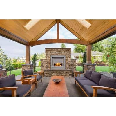 Bluegrass Living Vent-Free Stainless Outdoor Gas Fireplace Insert With Copper Fire Glass Media - 24,000 BTU