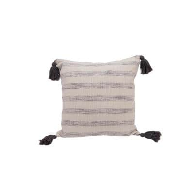 White & Grey Striped Cotton Woven Throw Pillow with Tassels