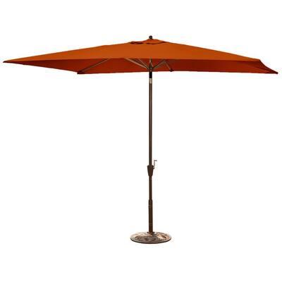 Adriatic 6.5 ft. x 10 ft. Rectangular Market Auto-Tilt Patio Umbrella in Terra Cotta Sunbrella Acrylic