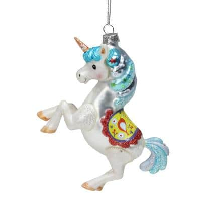 5.25 in. Glitter White Blue and Red Glass Unicorn Christmas Ornament