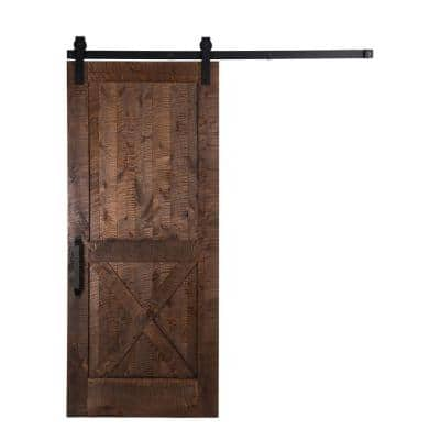 42 in. x 84 in. Stain, Glaze, Clear Rockwell Rough Sawn Unassembled Wood Sliding Barn Door with Hardware Kit