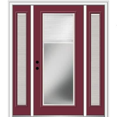 68.5 in. x 81.75 in. Internal Blinds Right-Hand Inswing Full Lite Clear Painted Steel Prehung Front Door with Sidelites
