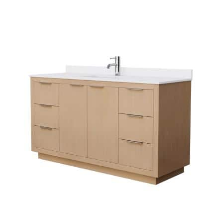 Maroni 60 in. W Single Bath Vanity in Light Straw with Cultured Marble Vanity Top in White with White Basin